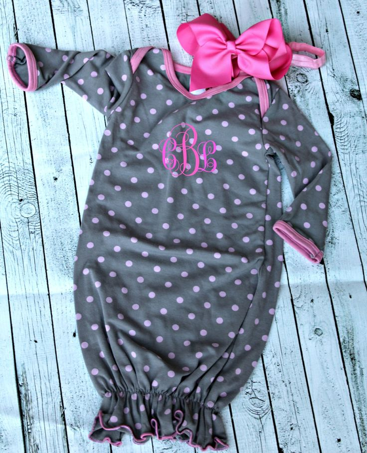 Newborn baby girl coming home outfit, preemie-6mo outfit, new baby, monogram baby girl gown, newborn outfit, gray and pink, gown and hat by Kitchcessories on Etsy https://www.etsy.com/listing/266994284/newborn-baby-girl-coming-home-outfit