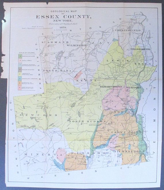 Antique Es County NY Map 1879 Schroon North Hudson