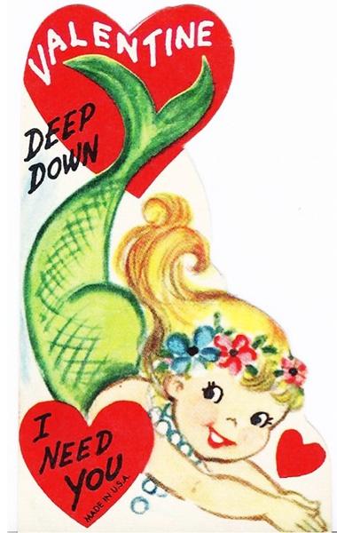Vintage mermaid valentine.