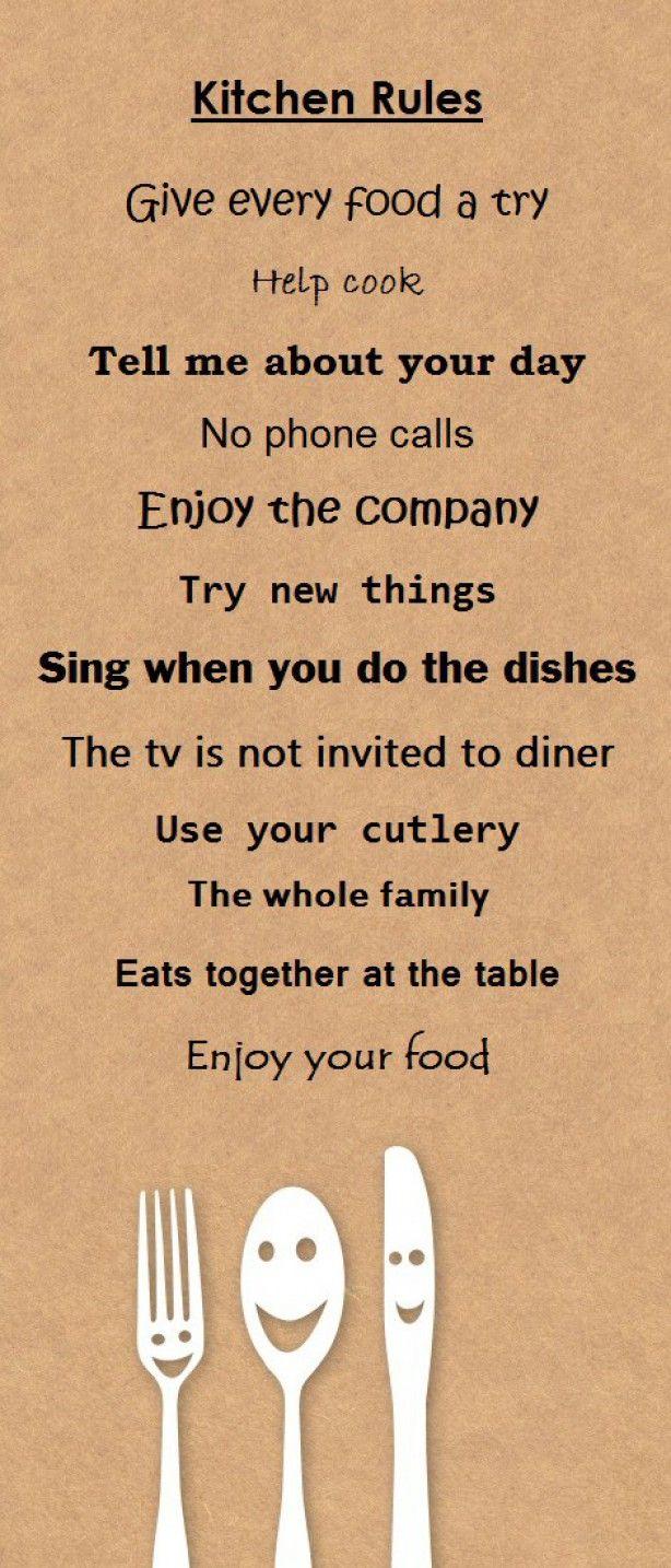 Leuke regels voor in de keuken