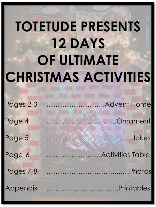 Totetude Presents 12 Days of Ultimate Christmas Activities.  Advent home, ornament, jokes, activities table, photos, printables, and more! http://totetude.com/blog/blog/totetude-12-days-of-ultimate-christmas-activities