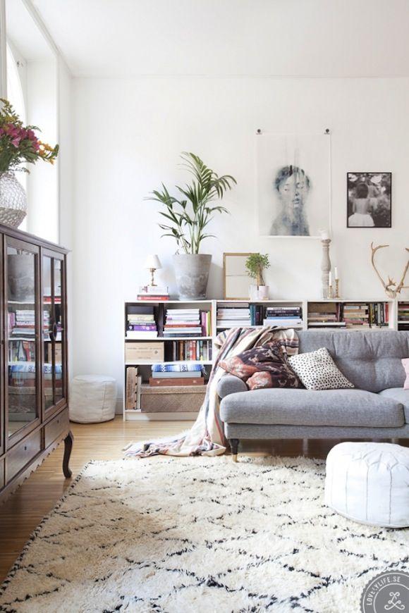 A neutral colour scheme helps to create a calm living room...