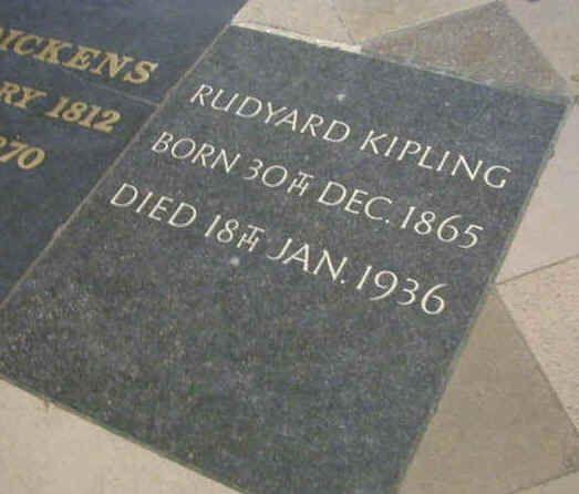 Rudyard Kipling is buried in 'Poets' Corner', Westminster Abbey, London, England. He lies next to Charles Dickens