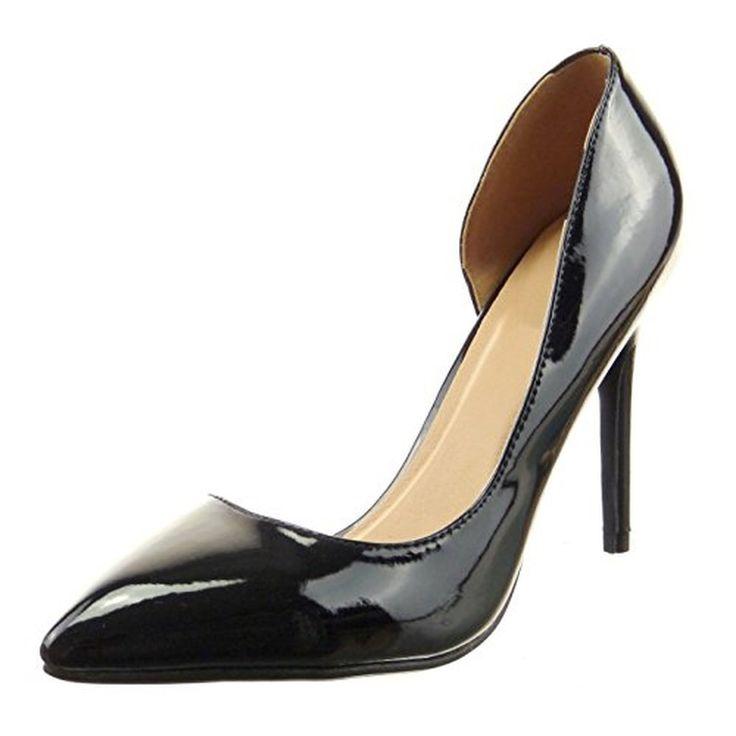 Sopily - Chaussure Mode Escarpin Decolleté Stiletto Cheville femmes Brillant verni Talon haut aiguille 10.5 CM - Noir #Escarpins #chaussures http://allurechaussure.com/sopily-chaussure-mode-escarpin-decollete-stiletto-cheville-femmes-brillant-verni-talon-haut-aiguille-105-cm-noir/