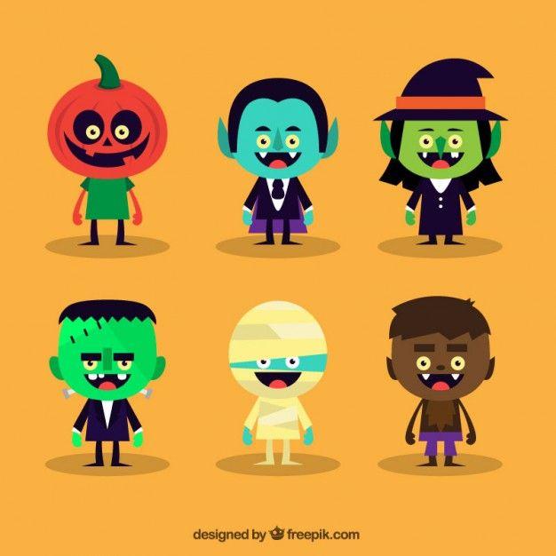 Variété de personnages mignons Halloween