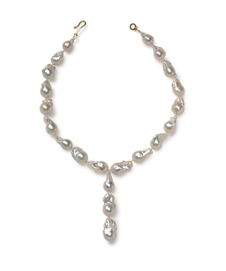 Ivory Baroque Pearl Drop Necklace -  Pearl necklace   Baroque Pearl Necklace   Beaded Pearl Necklace