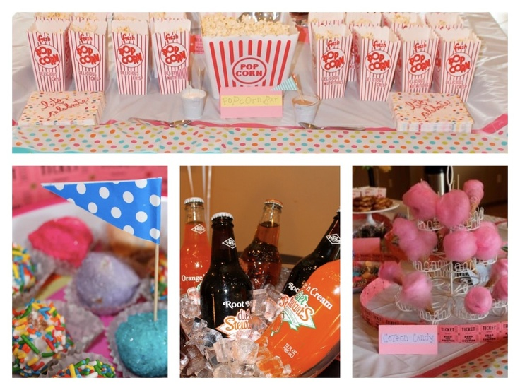 Carnival circus fair themed bridal shower with popcorn, cotton candy, cake balls, glass soda bottles, caramel and candy apple on a stick, mini corn dogs on a stick, and more! DIY