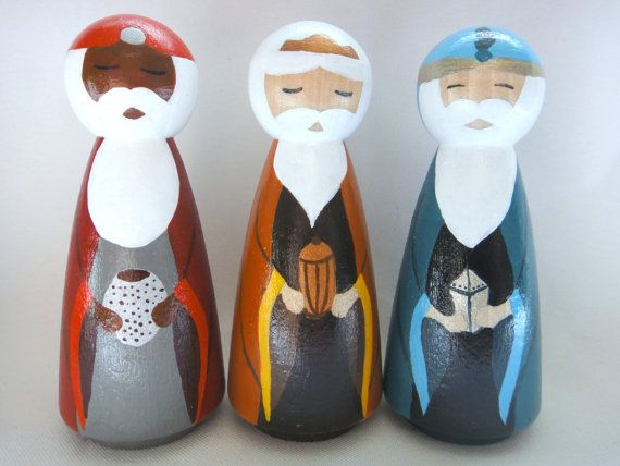 The Nativity Peg Doll Collection  Wise Ment Trio by PeggedByGrace, $35.00