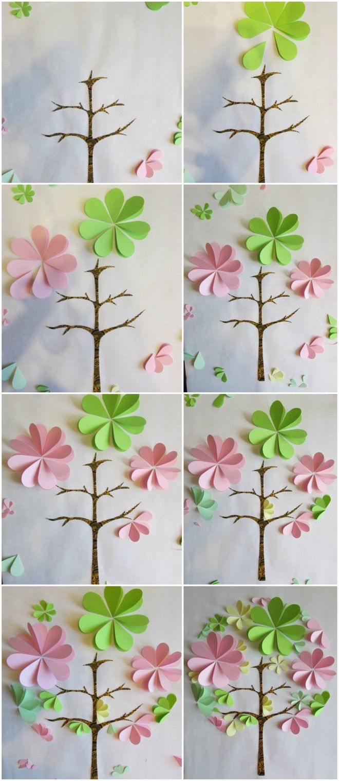 How To Make 3d Paper Artwork Flowers Pink Green Tree Tutorial