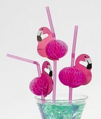 Tissue Flamingo Straws (12) :   This pink feathered bird straw is a cheery way to drink your favorite beverages