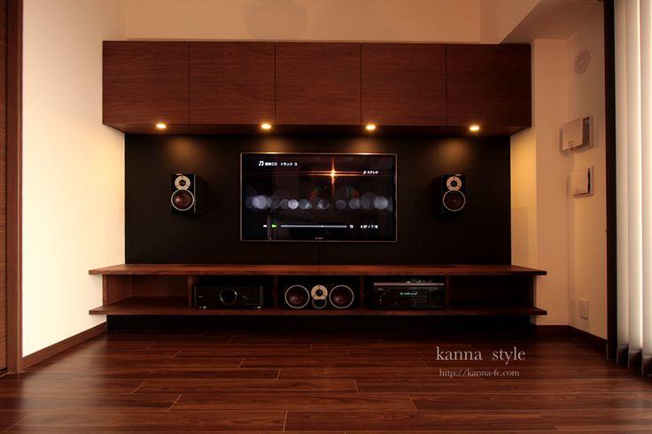 神戸市o邸のウォールナット材の壁面テレビボード&サラウンドシステム。 | kanna