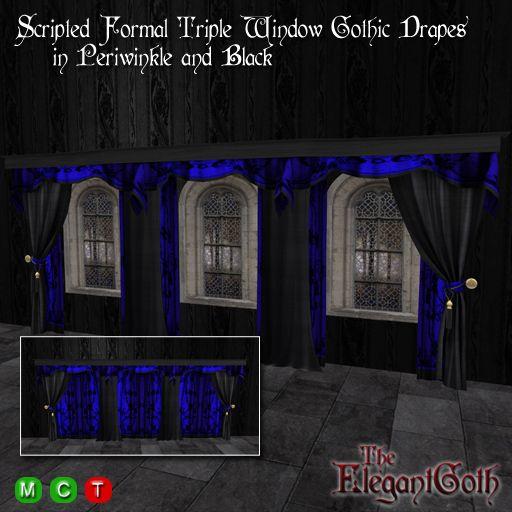 scripted formal triple window gothic drapes in periwinkle and black mesh fensterstileskriptehllendblau designvorhngegotischformal - Gotische Himmelbettvorhnge