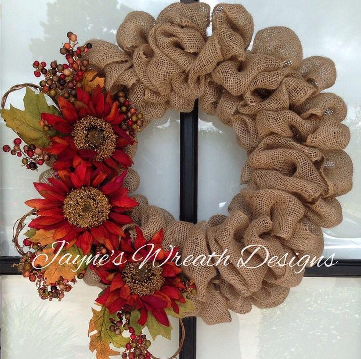 fall autumn burlap wreath www facebook com jayneswreathdesigns