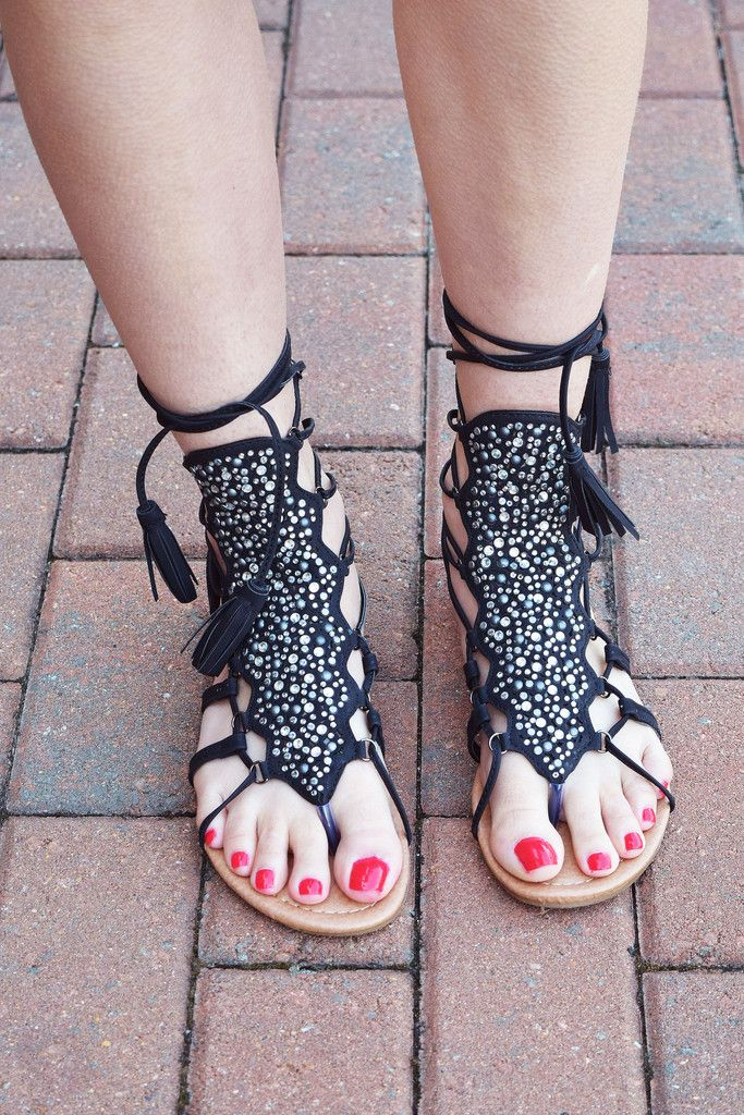 Black sparkle gladiator lace up sandals. Love the bohemian style!
