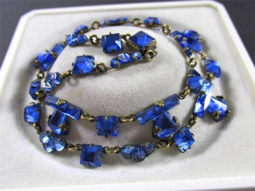 Antique Victorian Edwardian Blue Vauxhall Mirror Glass Collar Necklace   eBay