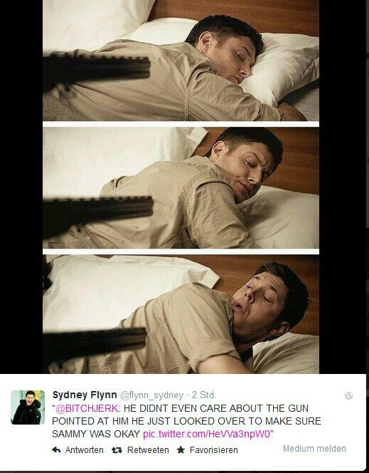 Dean defined. He doesn't care that there is a gun pointed at him. He looks over to make sure Sam is okay.