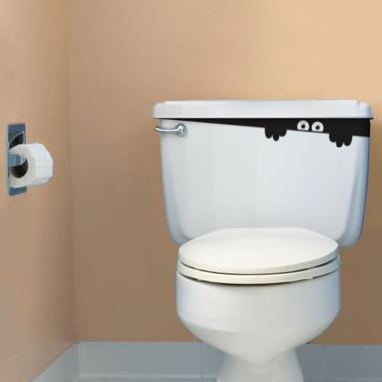 Grappig idee zo'n gluurder in de wc ;-)