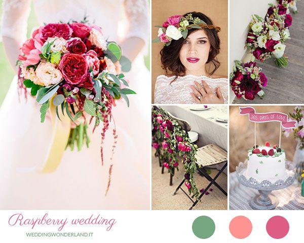 raspberry pink and green wedding inspiration http://weddingwonderland.it/2015/07/palette-matrimonio-estate.html