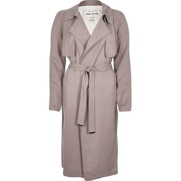 River Island Pink lightweight trench coat ($53) ❤ liked on Polyvore featuring outerwear, coats, sale, light weight coat, river island, trench coats, lightweight coat and lightweight trench coat