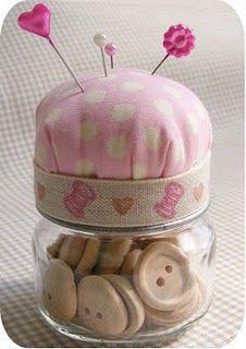 baby jar pin cushion