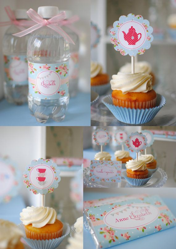 Blue Floral Shabby Chic Complete Birthday Party Package by Twinkle Twinkle Little Party