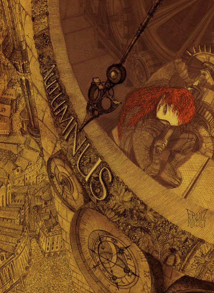 Illustration to story Daughters of Autumn by martlet #steampunk #mechanical #town #fairytale #girl #redhead #autumn #clock #franz_martlet