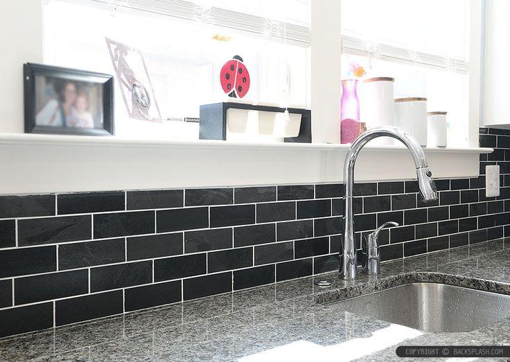 New Caledonia Granite Countertop White Kitchen Cabinets With Stone Black  Slate Backsplash Tile. Black And White Kitchen Backsplash Ideas.