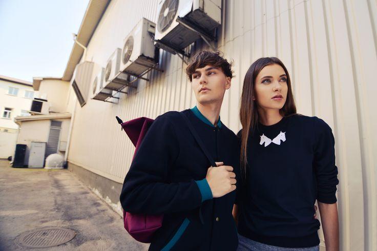 urban couple #1 = unisex collar sweatshirt + unisex worker jacket