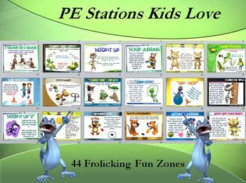 """""""ALL FOR FUN AND FUN FOR ALL""""!!! The following 44 """"fun"""" stations (and corresponding Station Cards) have been created as an aid for a PE Teacher, Classroom Teacher or Small Group Leader in a camp or church."""