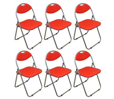 Harbour Housewares Red Padded, Folding, Desk Chair - Pack of 6