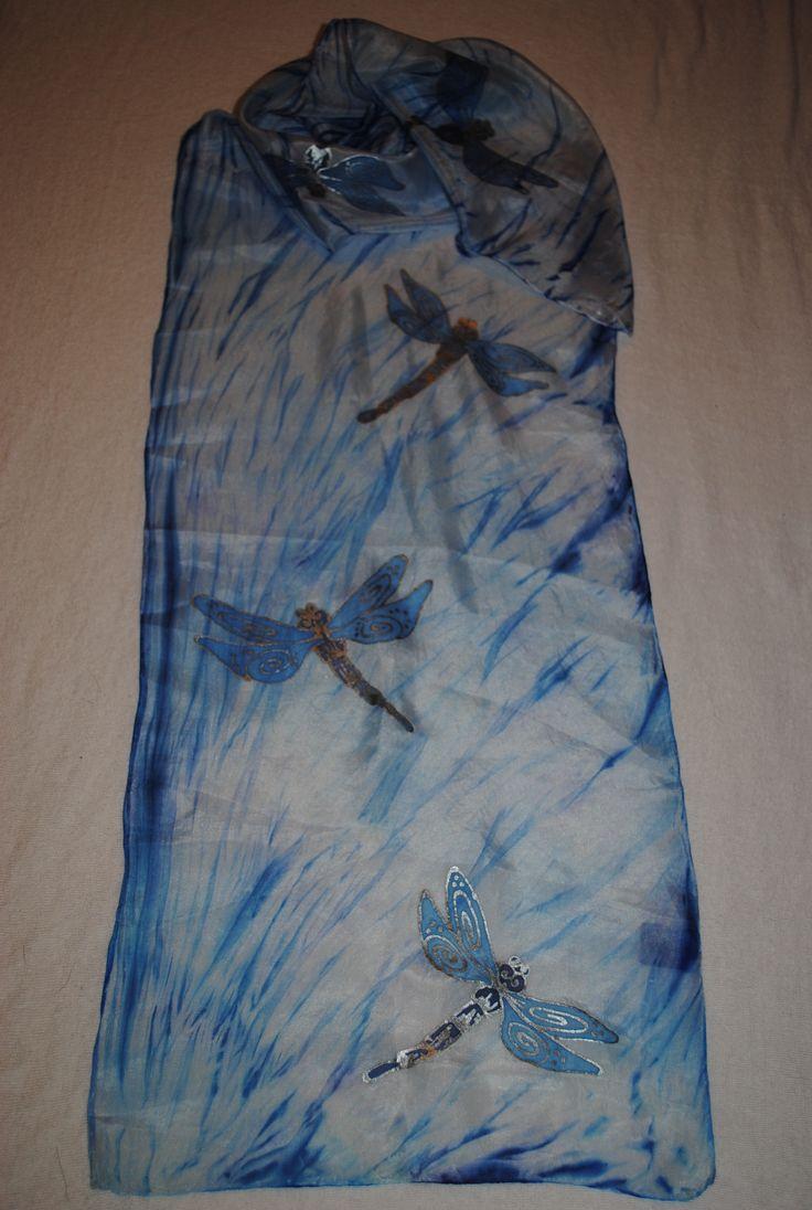 Silk scarf Flying dragonflies Hedvábná šála Létající vážky 35x130 cm