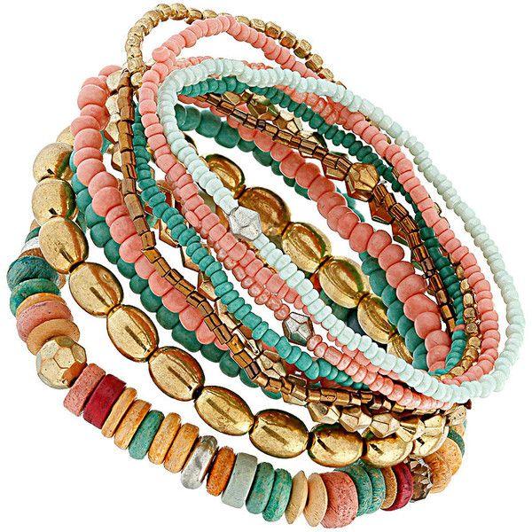 Mix bead stretch bracelet pack ❤ liked on Polyvore