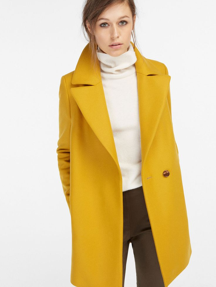 Manteau 192 Revers Jaune Moutarde In 2019 Yellow Coat