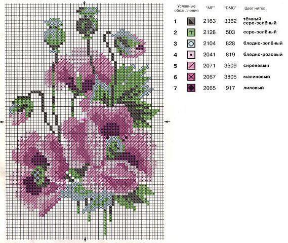 Flower cross-stitch.