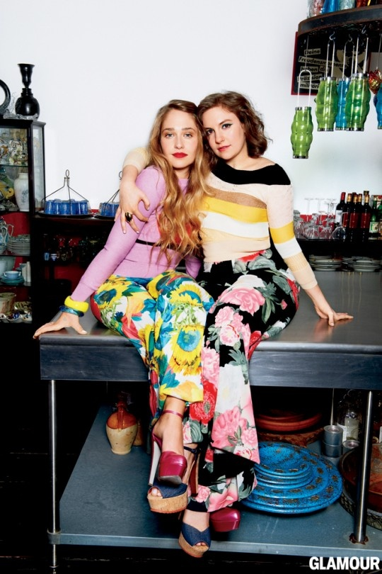 Jemima Kirke and Lena Dunham for Glamour.