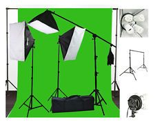 10x12 Green Screen Background Support Stand 2400 Watt Photo Video Lighting Kit