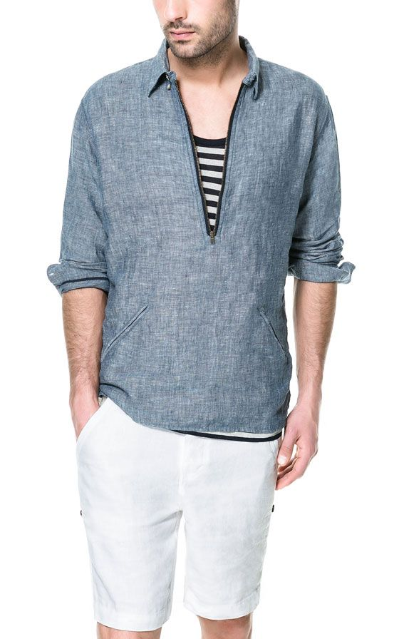 CHEMISE CHAMBRAY LIN-COTON - Casual - Chemises - Homme - ZARA France