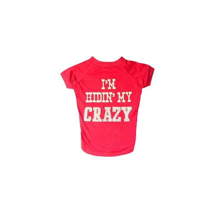 Mutt Nation Miranda Lambert's Dog T-Shirt I'm Hiding My Crazy Large, Red