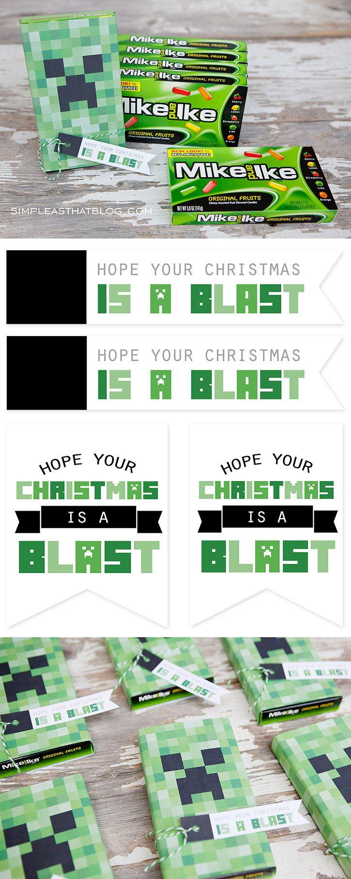 Free Printable Minecraft Christmas Gift Tags