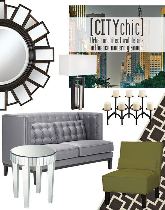 City chic - Choose furniture and home decor accessories with clean lines, muted neutral colors, and sleek reflective finishes for a city chic look.
