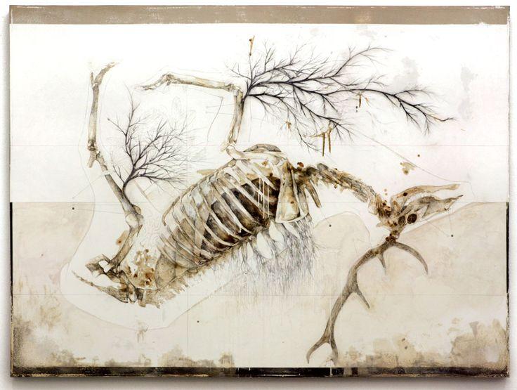 dimensione: cm 150x200 tecnica: matita, olio, smalto, resine, bitume su tela