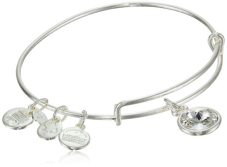 "Alex and Ani ""Bangle Bar"" April Birthstone Shiny-Silver Expandable Bracelet:"