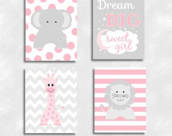 Baby Girl Nursery Art Pink Elephant Giraffe Lion Safari Jungle