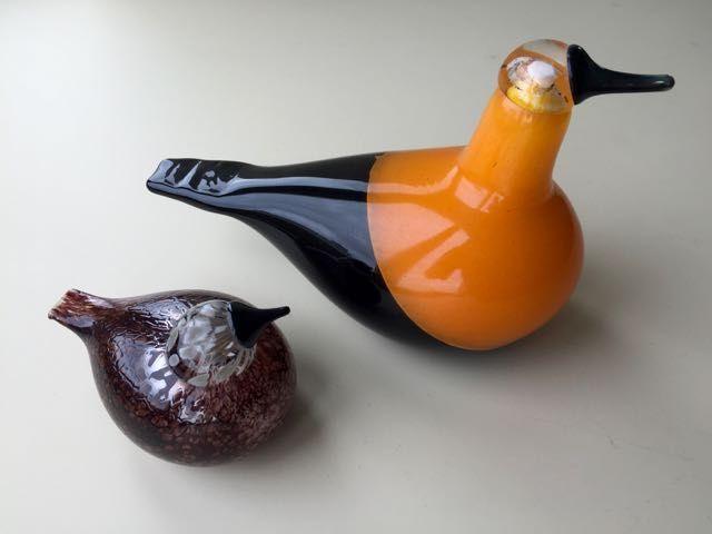 Oiva Toikka - Iittala - Golden Oriole + Rosy Finch - glass birds - Catawiki
