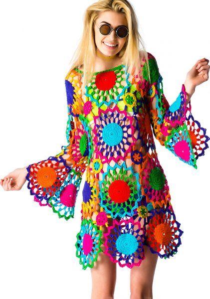 Платье крючком Все цвета радуги