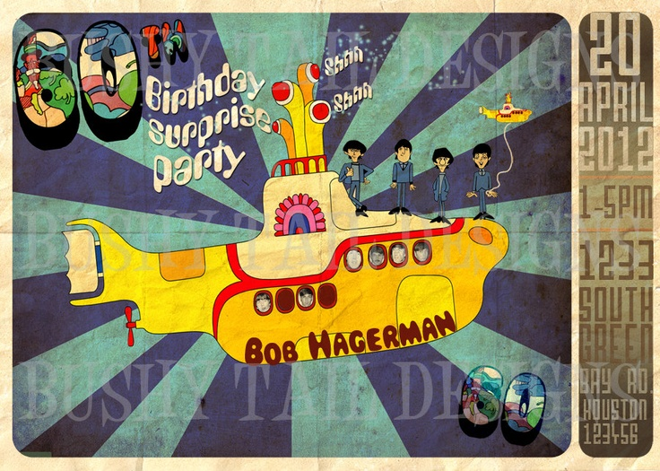 18 best images about Yellow submarine party – Beatles Party Invitations