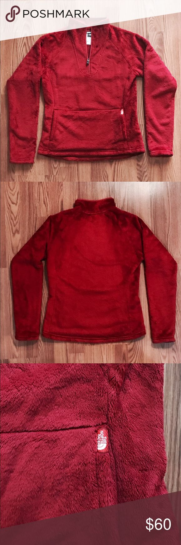 Red North Face Pullover Like NEW Woman's North Face Pullover! No stains and worn only once. Size small and 100% polyester. Accepting offers! Perfect for winter!!! North Face Jackets & Coats