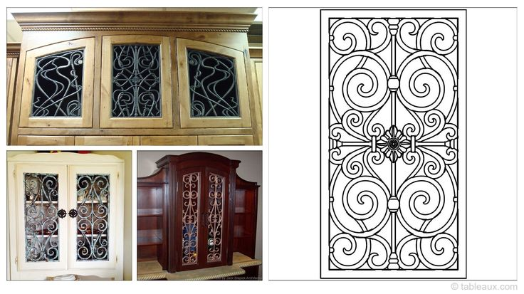 17 best images about refinished furniture on pinterest - Wrought iron kitchen cabinet door inserts ...