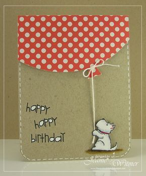 The stamp for this little pup is from the dollar bin at Michael's and he couldn't be cuter. Easy faux stitching with a white gel pen along the rounded corner adds interest underneath the giant balloon. DIY birthday card