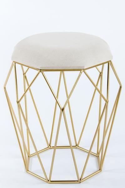 """Materials: Metal. linen Measurements: 19""""h x18"""" w, 5 pounds Color: Beige, gold"""